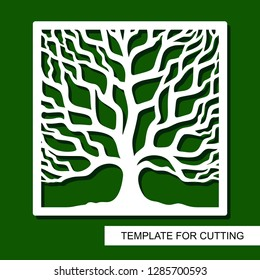 Tree silhouette in square frame. Template for laser cut, wood carving, paper cutting and printing. Vector illustration.