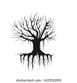 tree silhouette vector, hand drawn for dead tree