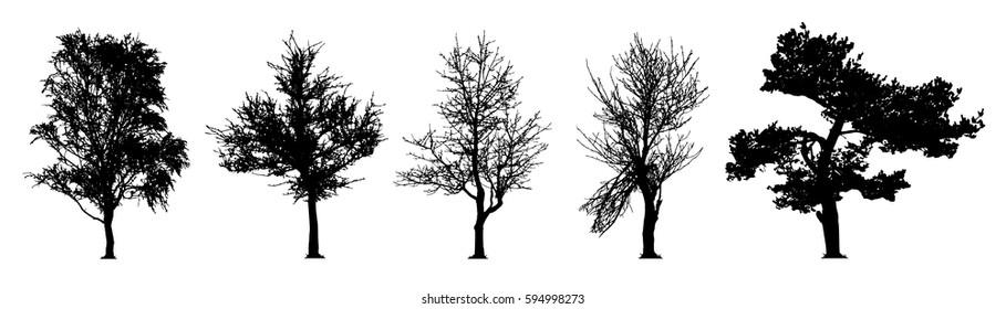 tree silhouette vector set