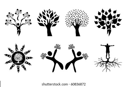 tree silhouettes set, elements for your graphic design