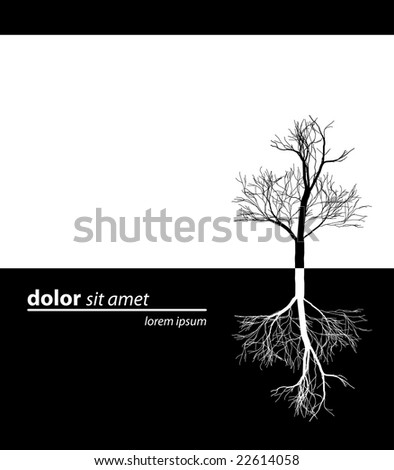 d18e0afc437 Tree simply black design. Bare tree in black color with reflection in white  or deep