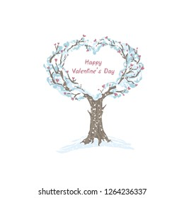 Tree in the snow with a crown of the heart. Isolated on white background, stylized tree.