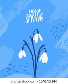 Tree snowdrops. Hand drawn first spring flowers on blue background with abstract strokes. Hello spring card vector design.