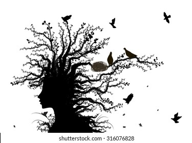 tree soul, face of tree, spirit of nature, birds return to the alive tree, tree woman, black and white, shadows