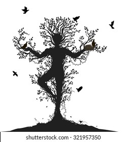 tree soul,spirit of the forest, , birds return to the alive tree, tree man, black and white, shadows