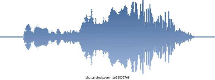 tree soundwave vector art illustration