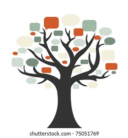 Tree With Speech Bubble, Isolated On White Background, Vector Illustration