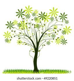 Tree spring background, vector illustration