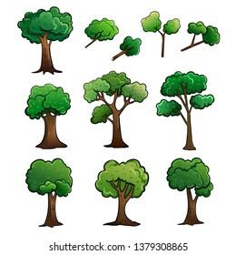 Tree and stem cartoon drawing vector illustration design with fresh green leaves.