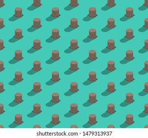 Tree stump 3D isometric seamless pattern, Deforestation concept poster and banner design illustration isolated on green background with copy space, vector eps 10