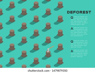 Tree stump with ax 3D isometric pattern, Deforestation concept poster and banner horizontal design illustration isolated on green background with copy space, vector eps 10