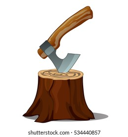 A tree stump with an axe stuck isolated on white background. Vector closeup illustration.