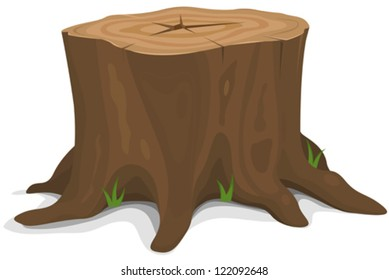 Tree Stump/ Illustration of a cartoon big tree stump with roots and some blades of grass