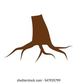 Tree stump illustration - glyph style icon - Brown