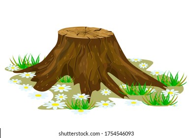 Tree stump isolated on white background. Big old tree stump with roots, grass and flowers. Cartoon brown trunk icon. Saw cut tree. Felled tree. Stock vector illustration