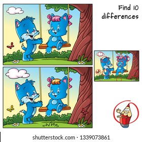 Tree with swing and two happy little cats. Find 10 differences. Educational matching game for children. Cartoon vector illustration