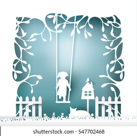 tree with swinging kid , paper cut style.vector illustration
