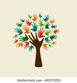 Tree symbol with colorful human hands. Concept illustration for organization help, environment project or social work. EPS10 vector.