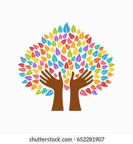 Tree symbol with human hands and multicolor leaves. Concept illustration for organization help, environment project or social work. EPS10 vector.