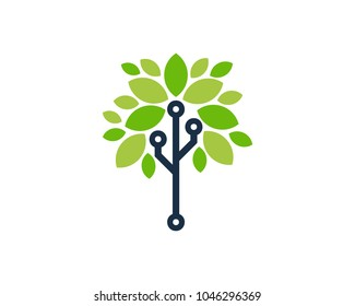 Tree Tech Icon Logo Design Element