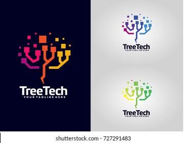 Tree Tech Logo Template Design. Creative Vector Emblem, for Icon or Design Concept.