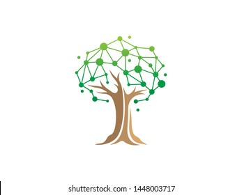 Tree Tech or Tree Science Logo Template Design Vector, Emblem, Design Concept, Creative Symbol, Icon