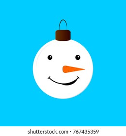 Tree toy icon, Christmas symbol, flat design template, snowman face, vector illustration