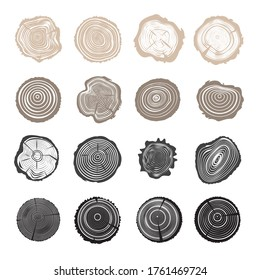 Tree Trunk Cut Icons, Cross Sections Symbols. Set of Stump Rings, Growth Ring Textured Vector Illustration