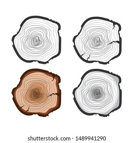 Tree trunk isolated on white background. Cross section of the trunk in a flat style. Vector brown tree rings. Wooden stump.