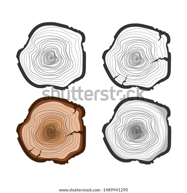 Tree Trunk Isolated On White Background Stock Vector