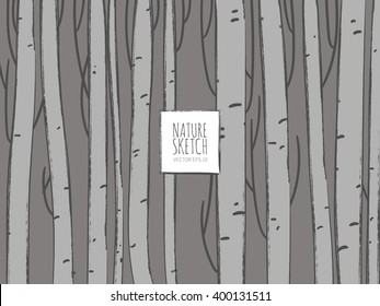 Tree, trunk, wood, birch tree, brush,nature, branch, forest. Hand drawn vector illustration. Line art ink sketch. Watercolor abstract background.