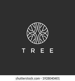 Tree vector abstract icon. Nature trees vector illustration logo design. On Black Background