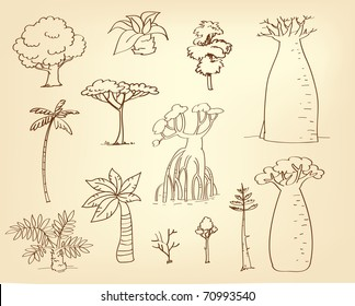 tree vector drawing set