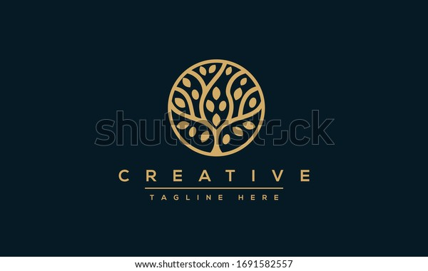 Tree vector icon. Nature trees vector illustration logo design.