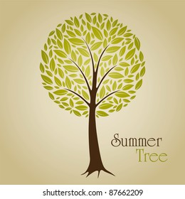 Tree vector illustration with green leafs. Nature symbol graphic design.