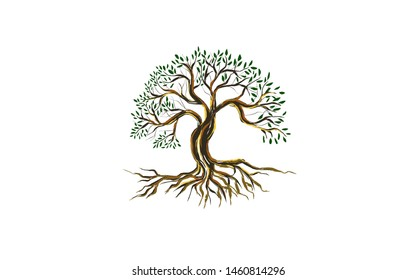 tree vector illustration. roots of banyan tree.  plant with hand drawn style
