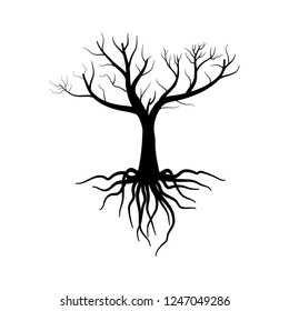 Tree Vector Illustration. Illustration tree with roots silhouette style