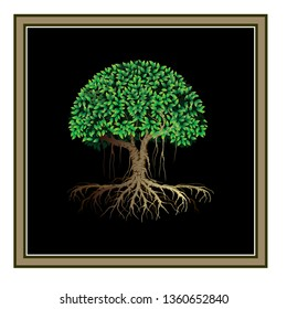 tree vector illustrations, tree logo templates with a black and brown frame