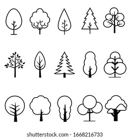 Tree Vector Line Icon Set. plant illustration sign collection. wood symbol. forest logo.