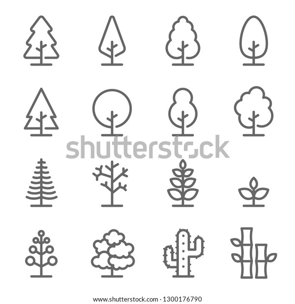 Tree Vector Line Icon Set. Contains such Icons as Wood, Plant, Pine, Cactus, Bamboo and more. Expanded Stroke