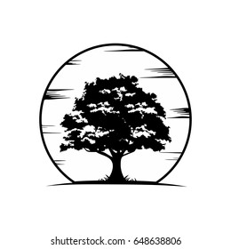tree vector logo design. Vector silhouette of a tree.