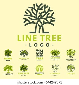 Tree vector logotype oak treetops silhouette illustration isolated  green forest badge  logo branch line-tree collection.
