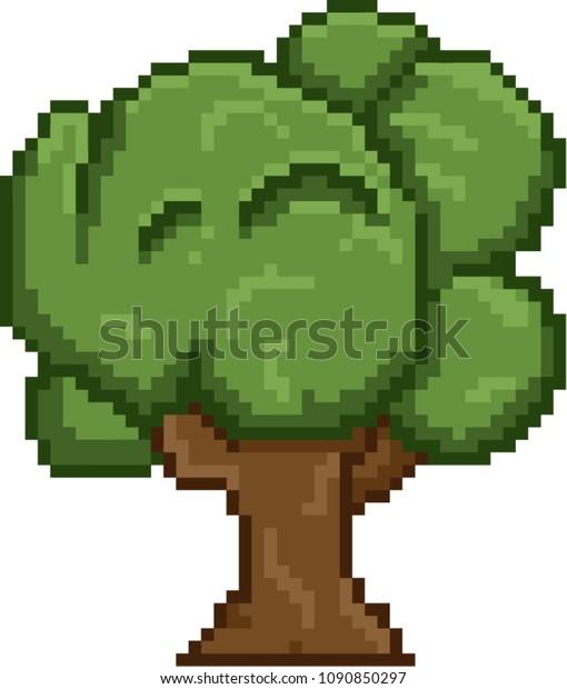 Tree Video Retro Game Pixel Art Stock Vector (Royalty Free) 1090850297