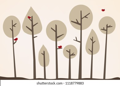 Tree wallpaper, children's room decor, modern print, tree landscape, tree background, stylish, trendy