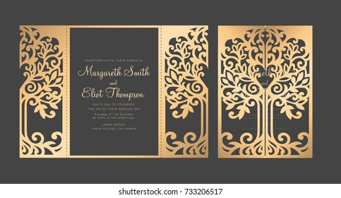 Tree wedding invitation template. Gate fold Laser cut design.