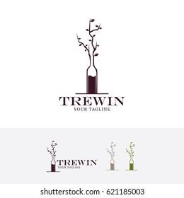 Tree Wine, Vector logo template