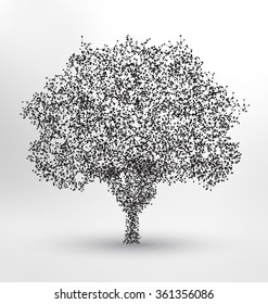 Tree Wireframe Style Design - Small particles forming a tree shape - Technology and Nature Concept Illustration