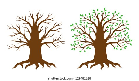 Tree with and without leaves. EPS8