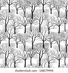 Tree without leaves isolated on white background. Branches isolated on white seamless pattern. Plant seamless texture. Forest seamless background. Hand drawn vector illustration.