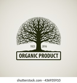 Tree without leaves sign. Nature or ecology vector logo. Oak symbol. Organic product